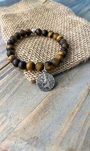 St. Christopher - Matte Tiger's Eye – Brother Wolf USA