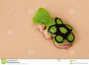 Sleeping Newborn Baby In Turtle Costume Royalty Free Stock ...