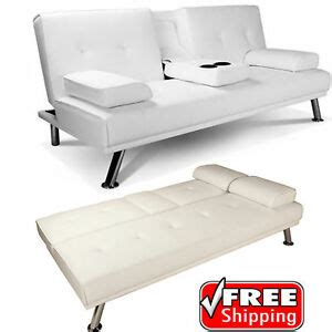 Click Clack Bed Settee by White Faux Leather Sofa Bed Click Clack Settee 2 3
