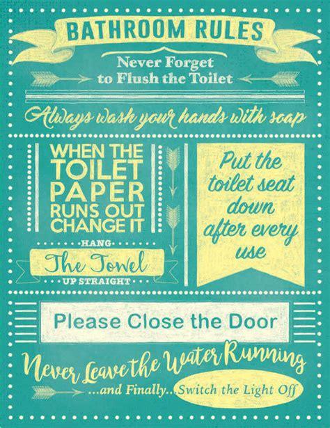 Bathroom Rules Always Flush Toilet Seat Down Loo Metal