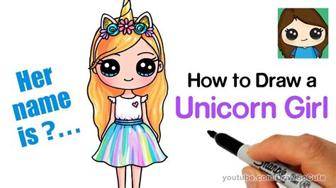 draw  unicorn cute girl easy cumseface