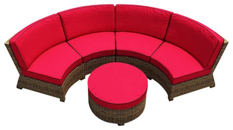 cypress 3 curved patio sectional set flagship ruby