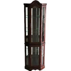 corner lighted curio cabinet mahogany walmart com