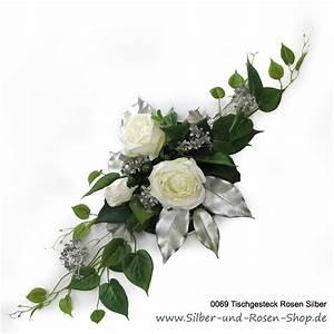 Hornspäne Für Rosen : tischgesteck wei e rosen mit silber f r silberhochzeit bestellen ~ Eleganceandgraceweddings.com Haus und Dekorationen