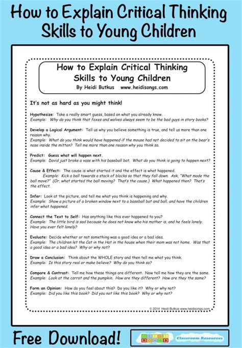 Free Critical Thinking Worksheets For Kindergarten 1000
