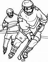 Hockey Coloring Player Goalie Mask Opponent Chasing Printable Nhl Getcolorings Netart sketch template
