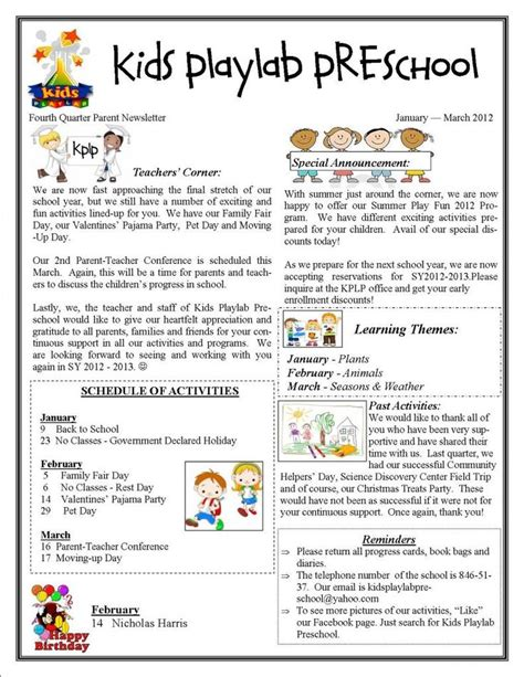 playlab preschool in makati city fourth quarter 270 | e058bb36243955e1a8f553127777cc47 preschool newsletter templates newsletter template free