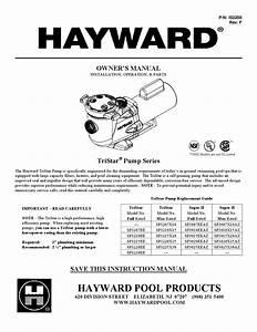 Hayward Tristar Pump Owner U0026 39 S Manual By Swimco Pools