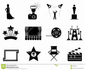 Movie And Oscar Symbol Icons Stock Photo - Image: 28909450