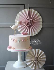 Stork And Bunting Baby Girl Baby Shower Cake By White Rose