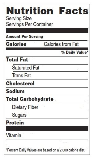 nutrition label template playbestonlinegames
