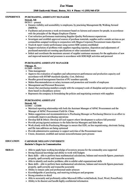 Resume Assistant by Assistant Purchaser Resume Assistant Buyer Resume Sle