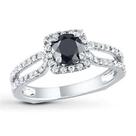 kays engagement ring engagement ring 1 1 5 cts black white 14k white gold