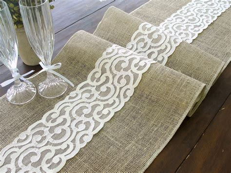 burlap table runner with lace burlap table runner burlap and lace rustic table runner