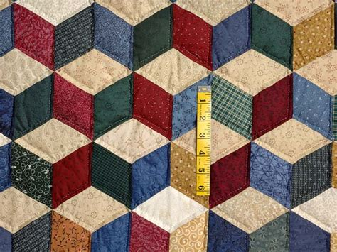tumbling block quilt pattern template blue and multicolor king tumbling blocks quilt photo 4