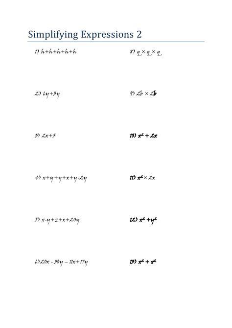 Mathematics  Algebra  Worksheet  Simplifying Expressions 2 (jw