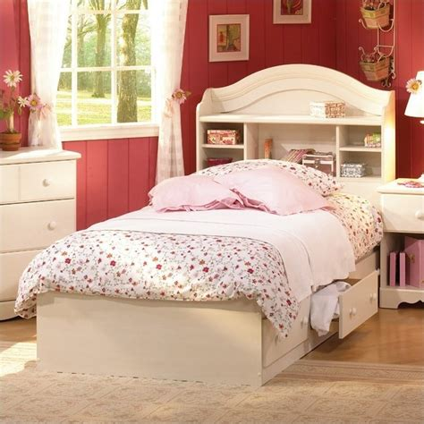 Size White Storage Bed With Bookcase Headboard by South Shore Summer Bookcase Headboard And