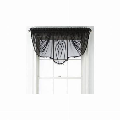 Sheer Valance Curtain Wide Tassels Sophisticated Window