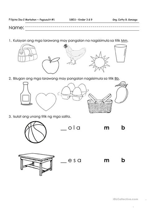 filipino quiz mm bb worksheet  esl printable