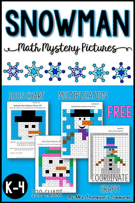 snowman math mystery pictures  images math mystery
