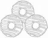 Coloring Donuts Baked Cake Donut Cartoon Coloringpagesfortoddlers sketch template