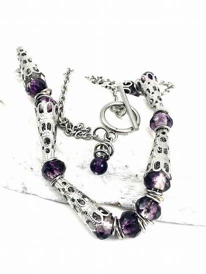 February Birthday Czech Necklace Purple Glass Amethyst