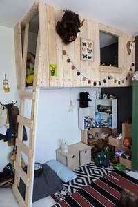 Lit Cabane Mezzanine : pr f r e et impossible chaleur chambre d 39 enfant avec lit mezzanine cabane suspendue ~ Melissatoandfro.com Idées de Décoration