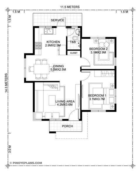 Two Bedroom Floor Plans by Stylish Two Bedroom House Plan Eplans