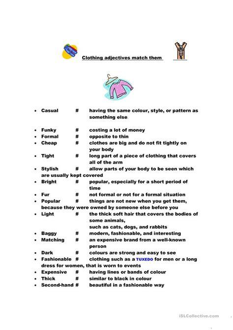 clothing adjectives worksheet  esl printable