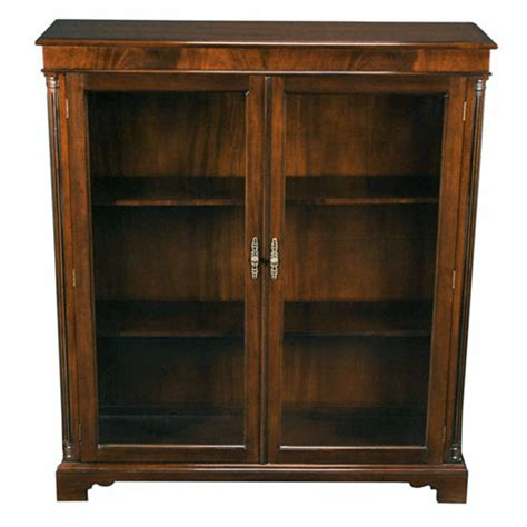 Solid Mahogany Glass Door Closed Bookcase With Adjustable