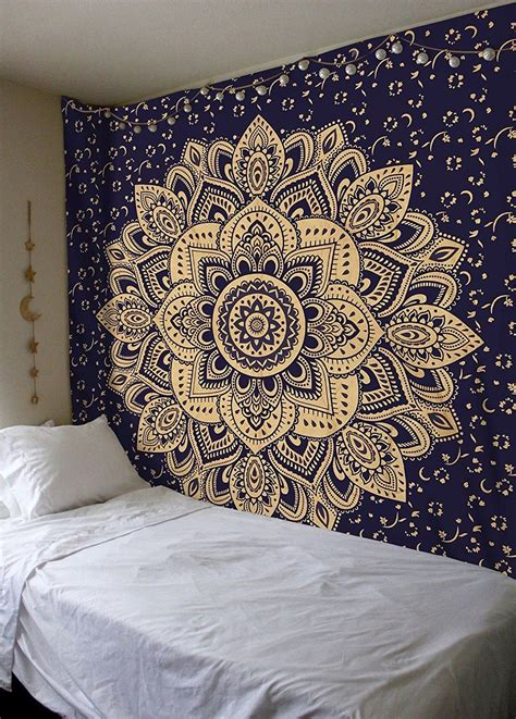 Blue Gold Passion Ombre Boho Mandala Tapestry Wall