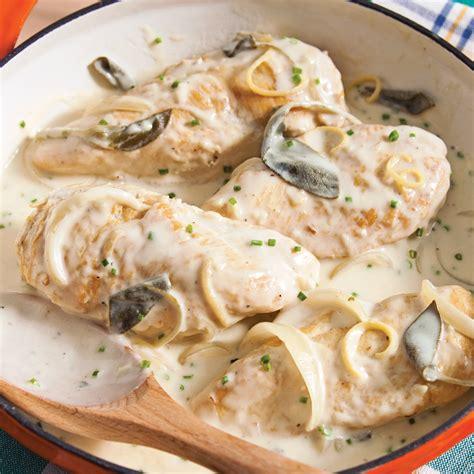 cuisiner avec la sauge poitrines de poulet braisées au citron et à la sauge recettes cuisine et nutrition pratico