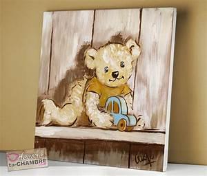 Cadre Deco Enfant : tableau ourson voiture pour chambre de bb vente de tableaux nounours pour la dco d 39 enfants ~ Teatrodelosmanantiales.com Idées de Décoration