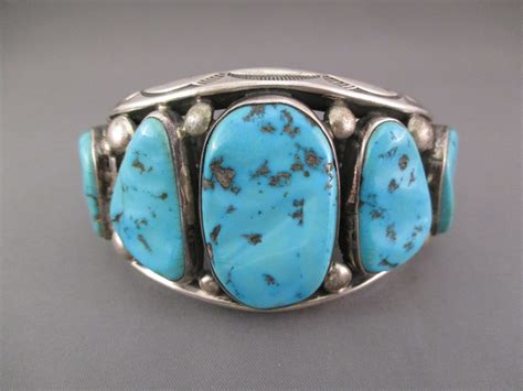 LARGE Turquoise Cuff Bracelet - Vintage Turquoise Bracelet
