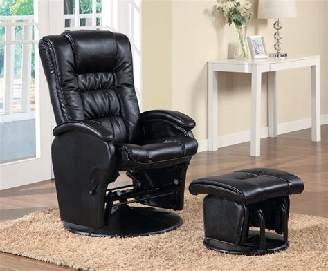 modern style swivel glider chair with ottoman in black