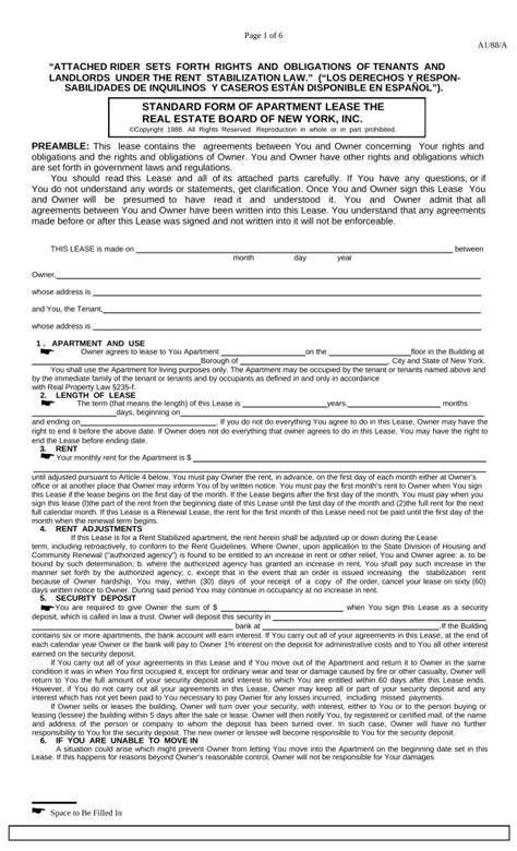 ny residential lease agreement free real estate board of new york residential lease agreement pdf eforms free fillable forms
