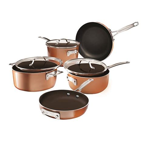 gotham steel stackmaster nonstick aluminum  piece cookware set  copperblack bed bath