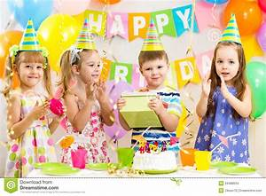 Happy Children On Birthday Holiday Stock Images - Image ...