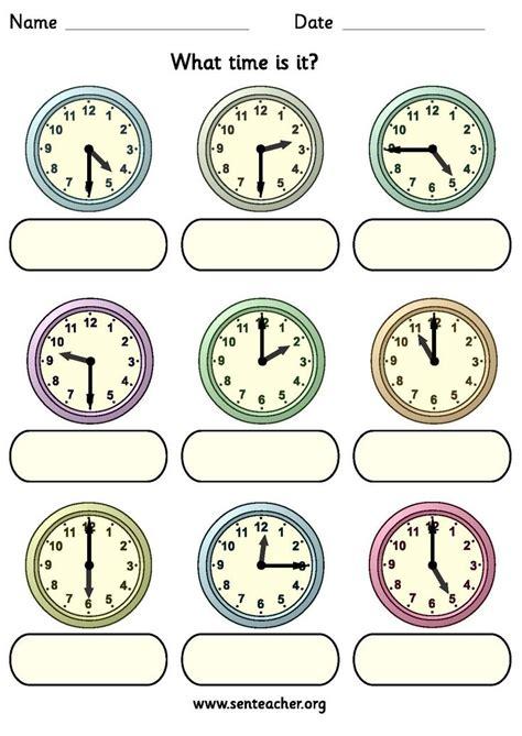 worksheet containing 9 analogue clocks showing o clock