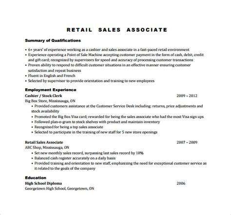 Exle Resume For Sales Associate by Sales Associate Resume 7 Free Sles Exles
