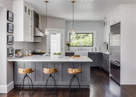 gray kitchen white cabinets gray distressed kitchen cabinets with marble herringbone