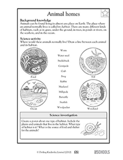 3rd grade 4th grade science worksheets animal habitats