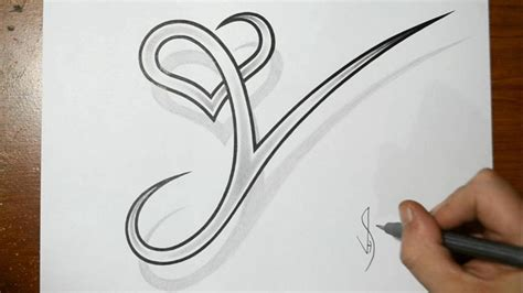 Drawing Letter Y With Heart Combined  Cool Tattoo Design