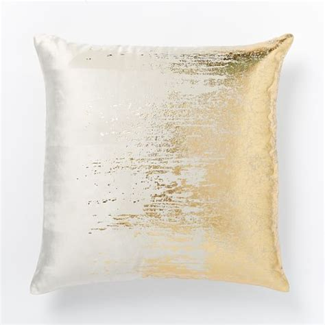 metallic gold throw pillows faded metallic texture pillow cover gold west elm