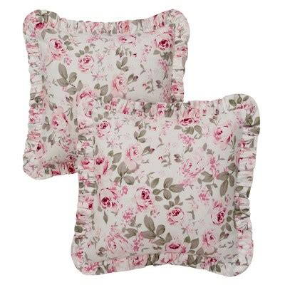 target shabby chic pillow cases pink floral print rosalie ruffled throw pillow cover 16 quot x16 quot 2 piece simply shabby chic target