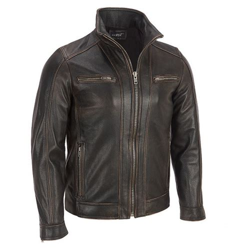 jacket moto men 39 s black rivet leather faded seam moto jacket
