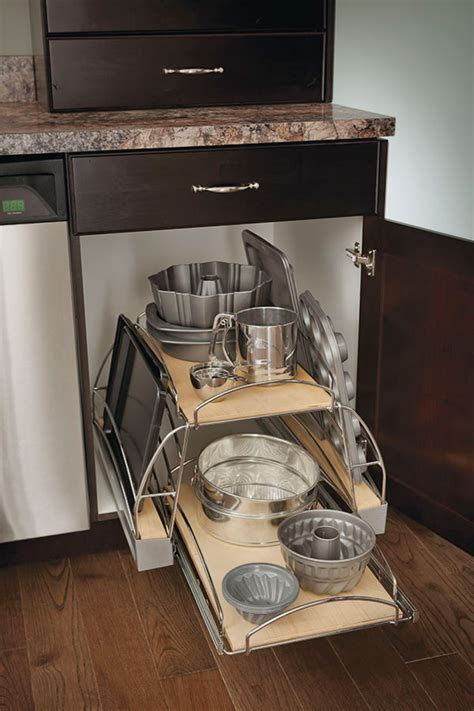 base pots  pans pullout cabinet kitchen craft cabinetry