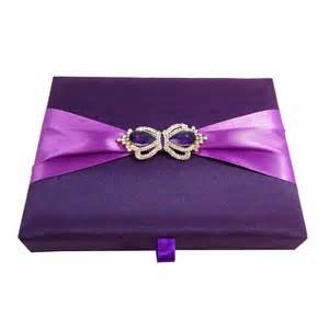 boxed wedding invitations luxurious plum purple silk covered boxed wedding invitations