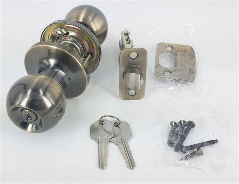 Keyed Alike Entry Door Knob Lock Antique Brass Tubular