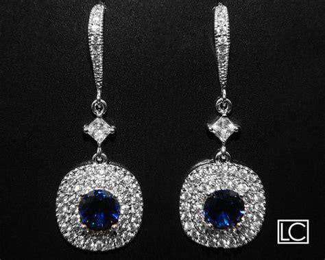 cubic zirconia bridal earrings navy blue silver cz wedding